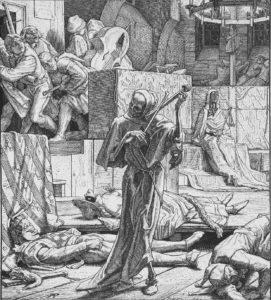 Alfred Rethel: Der Tod als Erwürger. Erster Auftritt der Cholera auf einem Maskenball in Paris, 1931 (1851)